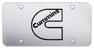 Cummins Logo Laser Etched On Brushed Stainless Steel Novelty Front License Plate
