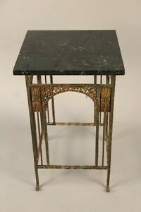 1920s Spanish Revival Side Table W Dark Marble Top Antique Vintage Tudor 10342