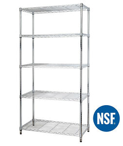 5 Tier Shelf Adjustable Steel Metal Wire Shelving Storage Rack 1750 Lbs Chrome