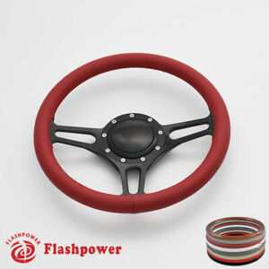 14 Billet Steering Wheels Red Leather Hot Rod Gm Buick Riviera Lesabre W Horn