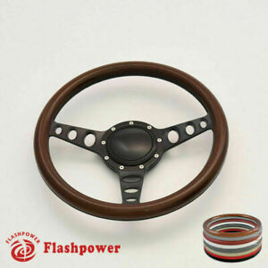 14 Billet Steering Wheel Walnut Half Wrap Gm Buick Cadillac With Horn Button
