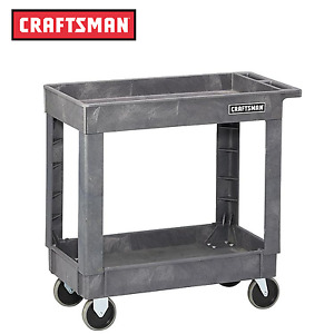Craftsman 34 1 2 2 shelf Heavy duty Plastic Utility Cart Free Shipping