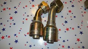 Two 2 New Parker C443 22 12 Hydraulic 45 Degree Fittings Nos Female Swivel