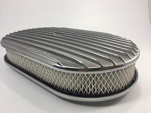 15 Oval Finned Polished Aluminum Classic Nostalgia Air Cleaner Chevy Ford Mopar