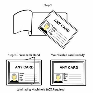 100 Pack Self Adhesive Cold Seal Laminating Id Pouches Credit Card Size 54x86mm