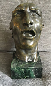 After Auguste Rodin French 1840 1917 Mask Of Sorrow Bronze Bust On Marble