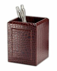 A2010 brown crocodile embossed leather pencil cup