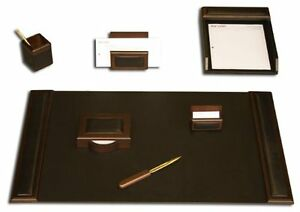 Dacs d8404 dacasso Walnut And Leather Desk Set 7 piece