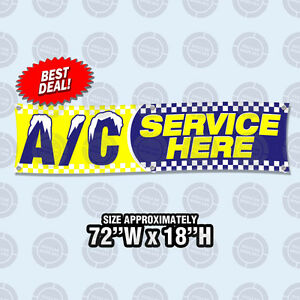 72 x18 Ac Service Here Banner Sign Air Conditioning Automotive Repair Car Shop