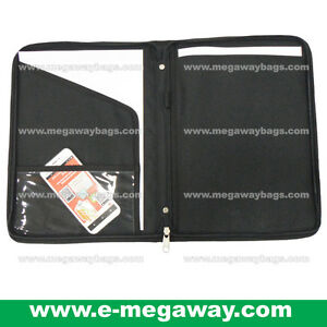 A4 Paper Folder Writing Note Pad Zipper Black Portfolios Promotion Megawaybags
