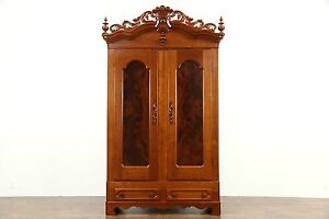 Victorian 1860 S Antique Hand Carved Cherry Armoire Wardrobe Or Closet