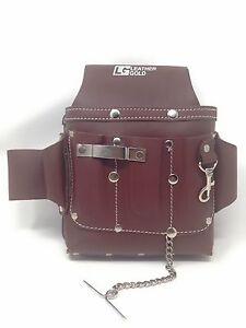 Pack Of 5 Leather Gold Standard Electrician s Tool Pouch Browntanned Cow Leather