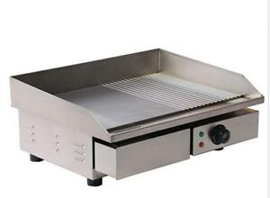 3kw 55cm Electric Griddle Grill Hot Plate Stainless Steel Commercial Bbq E