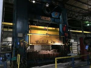 Verson 600 Ton Straight Side Double Crank Mechanical Press 120 L r X 72 F b