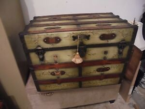 Antique Decorative 150 Year Old Wooden Sea Chest Trunk 30 X 18 X 17 1 2