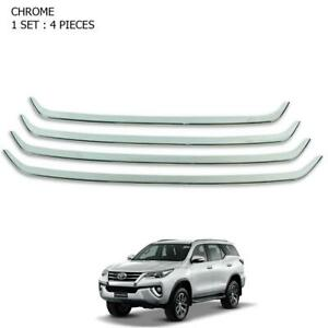 2016 2017 Chrome Front Grille Bumper Line Trim 4 Pc Fits Toyota Fortuner Suv