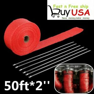 2 Titanium 50ft Exhaust Header Fiberglass Heat Wrap Tape 6 Ties Kit Red Bp