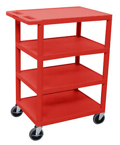 Luxor Four Flat Shelf Red Utility Cart