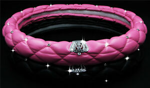 Car Steering Wheel Cover Leather Covered Girls Styling Diamond Women