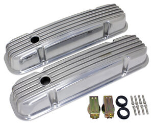 Pontiac 326 455 Black Aluminum Valve Covers Finned Black