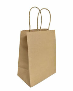100 Brown 8x4 75x10 5 Medium Kraft Paper Bags Shopping Handles Party Gift Bags