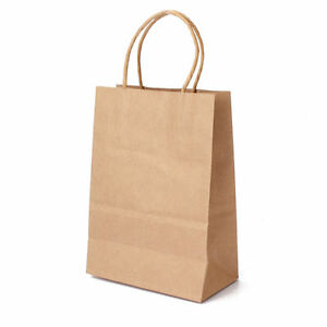 50 Pcs Size 5x4 X 8 Small Brown Kraft Paper Bags With Handle Shopping Gift Bags