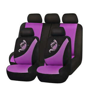 Purple Car Seat Covers Butterfly Embroidery Universal Fit 5 Seaters Protectors