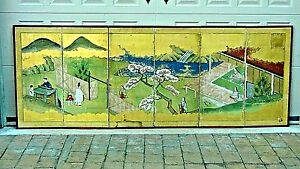 Antique 19c Japanese 6 Panel Folding Screen W Traditional Japanese Life Scene