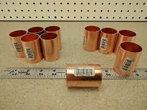 Lot Of 10 1 1 4 Inch Nibco Copper Solder Slip Coupling Without Stop Sweat