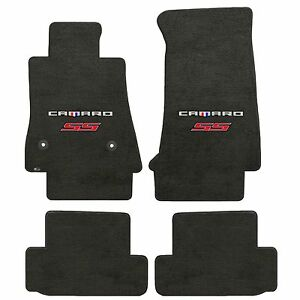 Camaro 2016 4pc Car Floor Mats Carpet Black Velourtex Camaro Ss Red Double Logo