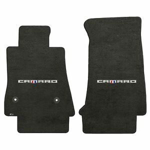 Camaro 2016 2pc Car Floor Mats Carpet Black Ebony Velourtex Camaro Word Logo