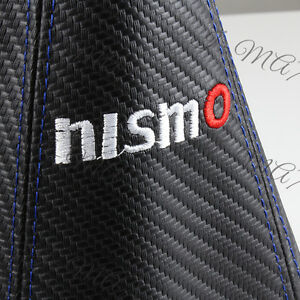 Nismo Carbon Look Pvc Black Blue Stitch Jdm Shift Knob Shifter Boot Cover Mt At