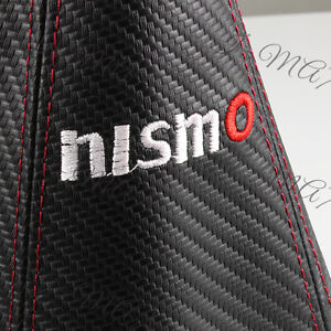 Nismo Carbon Look Pvc Black Red Stitch Jdm Shift Knob Shifter Boot Cover Mt At