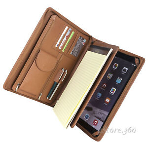 Cowhide Leather Portfolio Organizer Padfolio Writing Pad Document Holder Case