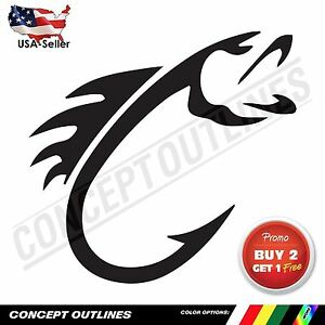 Fishing Decal Sticker Fish Car Wall Laptop Boat Waterproof Outdoor Indoor Hook