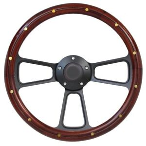 14 Mahogany Wood Steering Wheel W Black Horn For Any Ford Car Or Truck