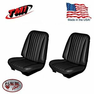 1968 Chevelle El Camino Front Bucket Seat Upholstery Black By Tmi Usa Made