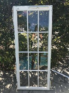 Antique 1920 S Window Frame With Glass 12 Pane Cabinet Mirror Cottage 19 75 X 57