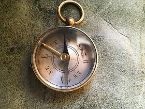 Antique French Brass Compass Tiny Made In France 1 1 2 Diameter