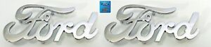 Pair 2 Chrome Ford Script Emblems W Mounting Studs licensed