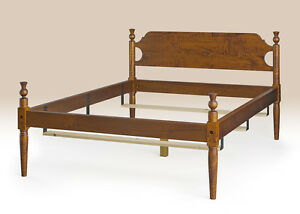 Queen Size Early American Style Bed Frame Made In Usa Tiger Maple Wood Furniture