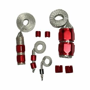 Red Braided Hose Engine Dress Up Kit For Radiator Vacuum Fuel Oil Line