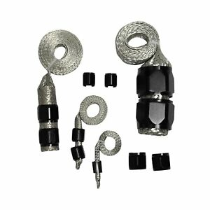 Black Stainless Steel Braided Hose Engine Dress Up Kit Radiator Vacuum Fuel Oil