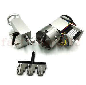 Cnc Router Rotational Rotary Axis A axis 4th axis 100mm 3 jaw Chuck tailstock 5