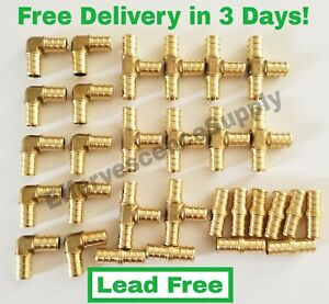 30 Pcs 3 8 Brass Pex Fittings 10 each Elbow coupler Tee lead Free