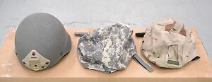 New 2x Mich Ach Kevlar Helmets with Noroto NVG Mount ACU Desert Woodland Covers