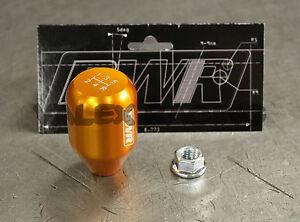 Blackworks Racing 10x1 25 Aluminum 6061 5 Speed Type R Style Shift Knob Orange
