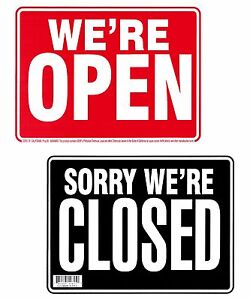 Double Sided we re Open sorry We re Closed Sign 9x12 Sturdy Flexible Black red