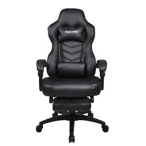 Ergonomic Office Chair High Back Support Leather Ribbed Computer Desk Seat White