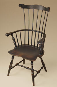 Fan Back Windsor Armchair Dining Room Chair Black Colonial Style Furniture